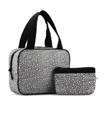 Karen - 2 Pcs Cosmetic Bag Set - Grey w. White Print