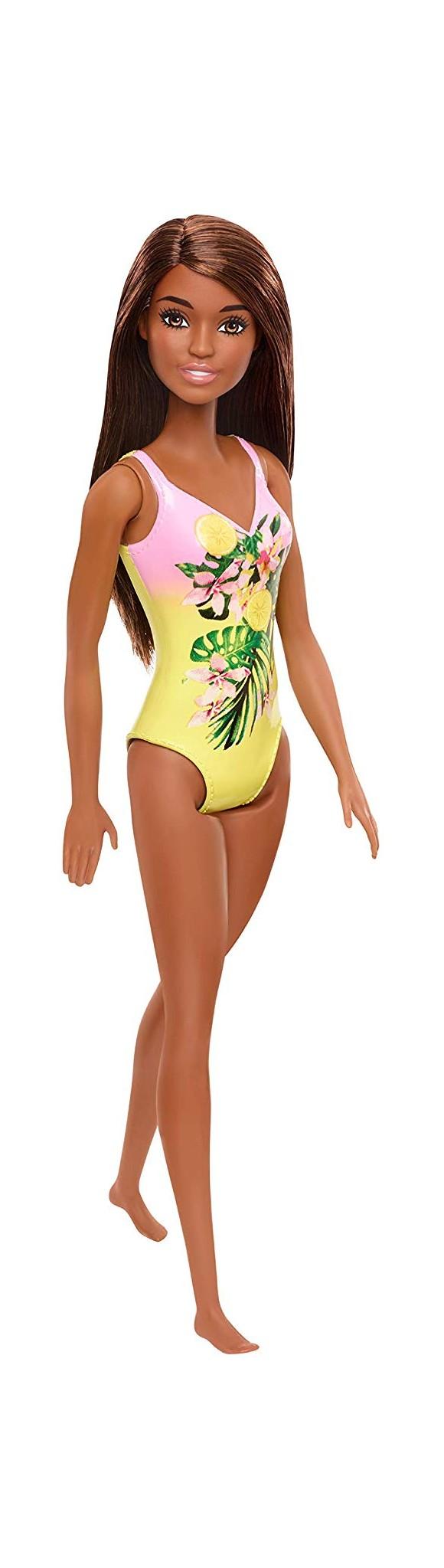 Barbie - Beach Doll - Mørk Håret m. Gule Blomster (GHW39)