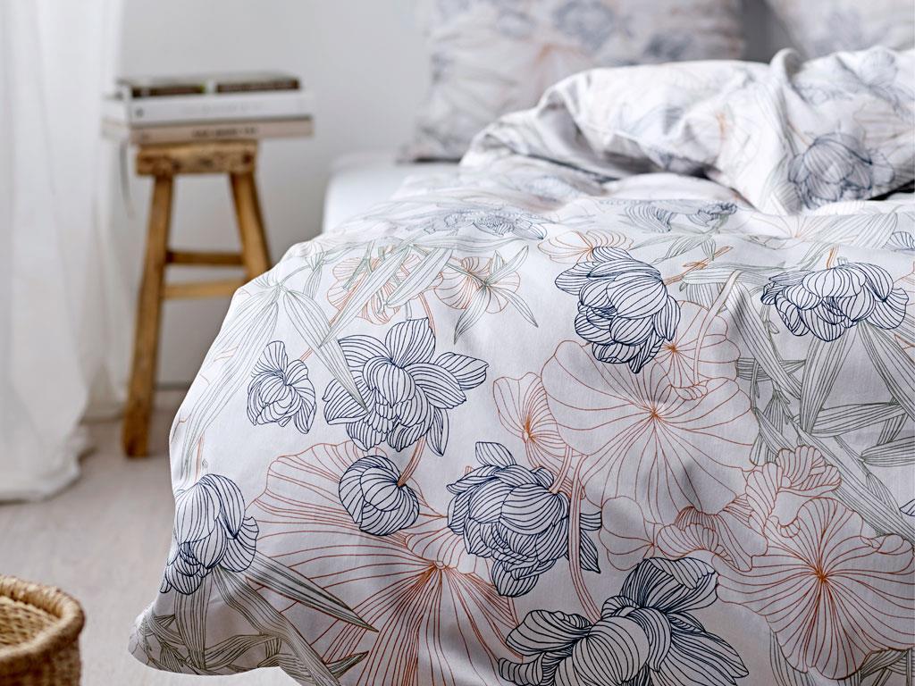 Södahl - Organic Foliage Bedding 140 x 200 cm - Indigo (727930)
