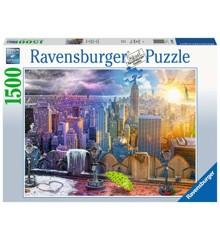 Ravensburger - Puslespil 1500 - Dag og nat NYC Skyline (10216008)
