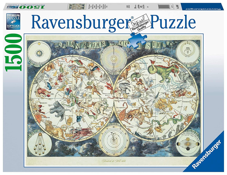 Ravensburger - Puzzle 1500 - World map of Fantastic Beasts (10216003)