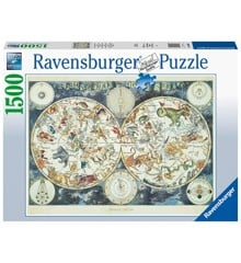 Ravensburger - Puzzle 1500 - World map of Fantastic Beasts (10216003)
