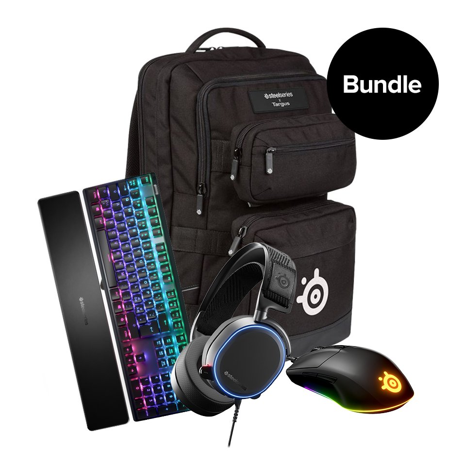 Steelseries - Arctis Pro - Rival 3 - Apex 7 - Backpack -Bundle