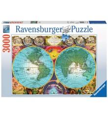 Ravensburger - Puslespil 3000 - Antikt verdenskort (10217074)