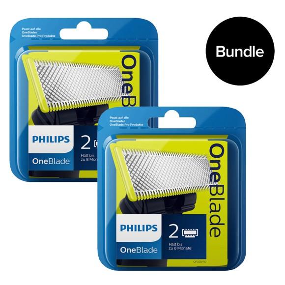 Philips - OneBlade Replaceable Blades 2x2 Pack - QP220/50 - Bundle