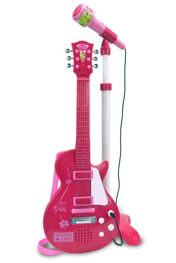 Bontempi - Pink elektronisk rock guitar med mikrofon (245872)