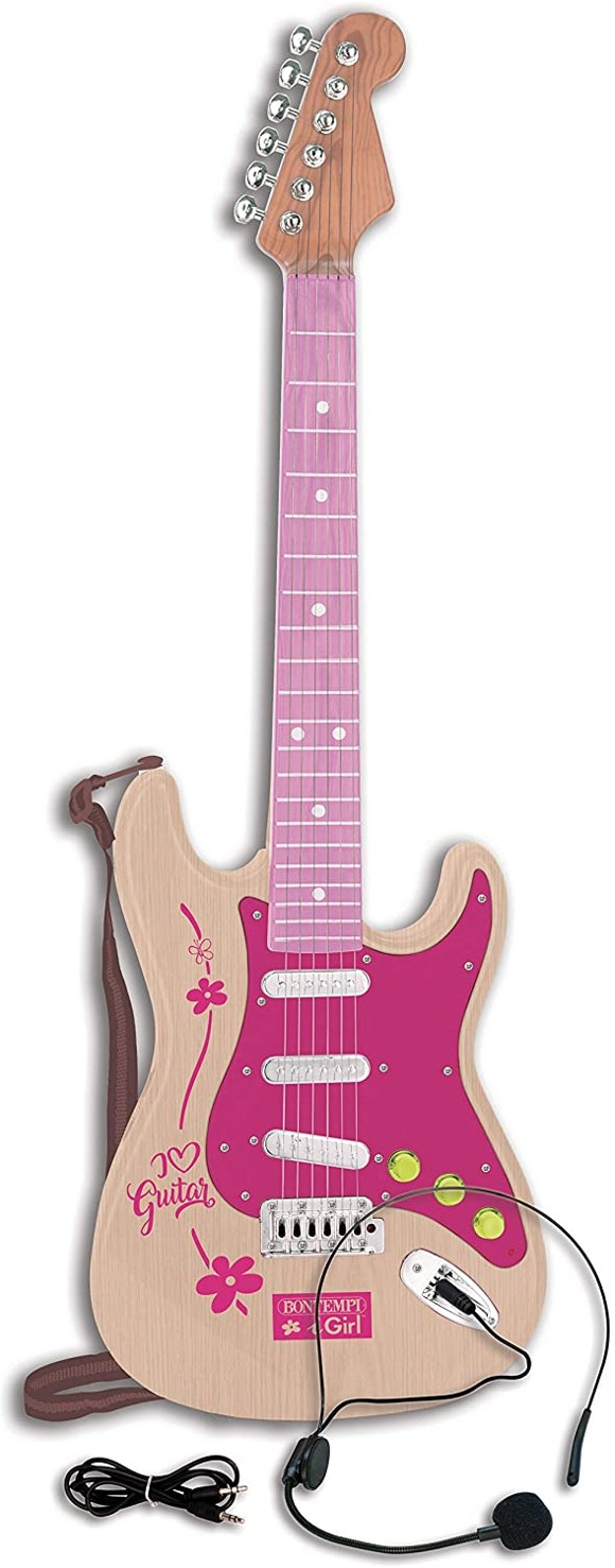 Bontempi - Pink elektronisk rock guitar (241371)