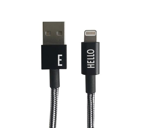 Design Letters - Lightning Cable 1 Meter E - Black (60201010E)