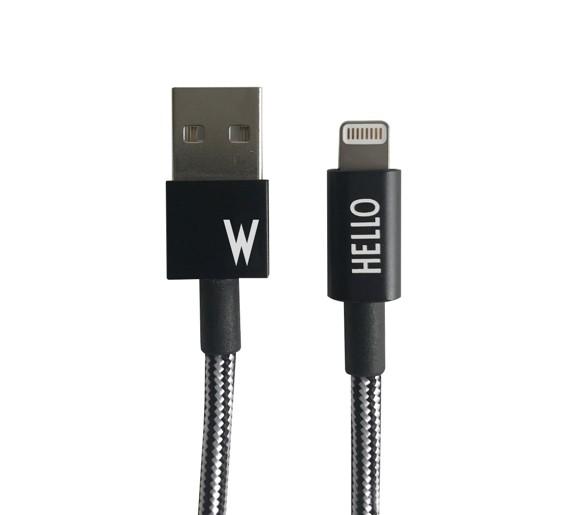 Design Letters - Lightning Cable 1 Meter W - Black (60201010W)