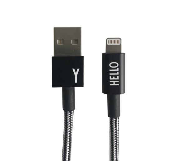Design Letters - Lightning Cable 1 Meter Y - Black (60201010Y)