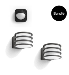 Philips - Hue Lucca 2x Outdoor Wall Light - Warm White +  Outdoor Sensor - Bundle