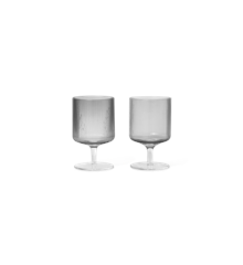 Ferm Living - Ripple Wine Glasses Set Of 2 - Smoked Grey (100489112)