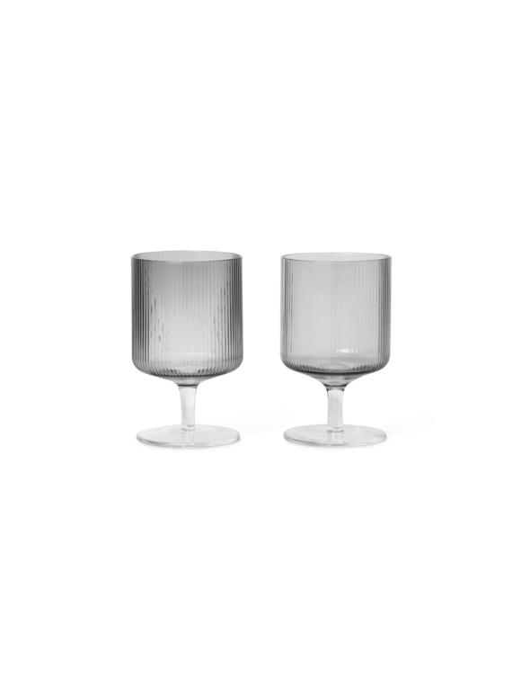 Ferm Living - Ripple Wine Glasses Set Of 2 - Smoked Grey (100489112)
