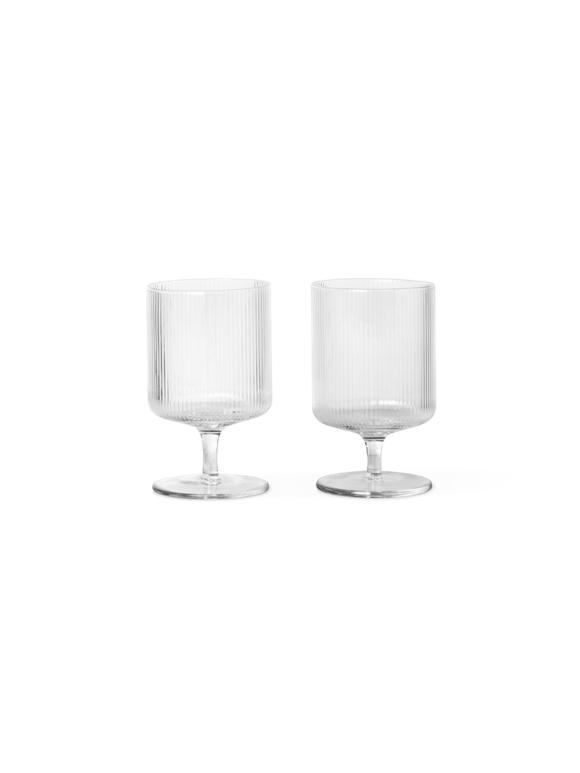 Ferm Living - Ripple Wine Glasses Set Of 2 - Clear (100488211)