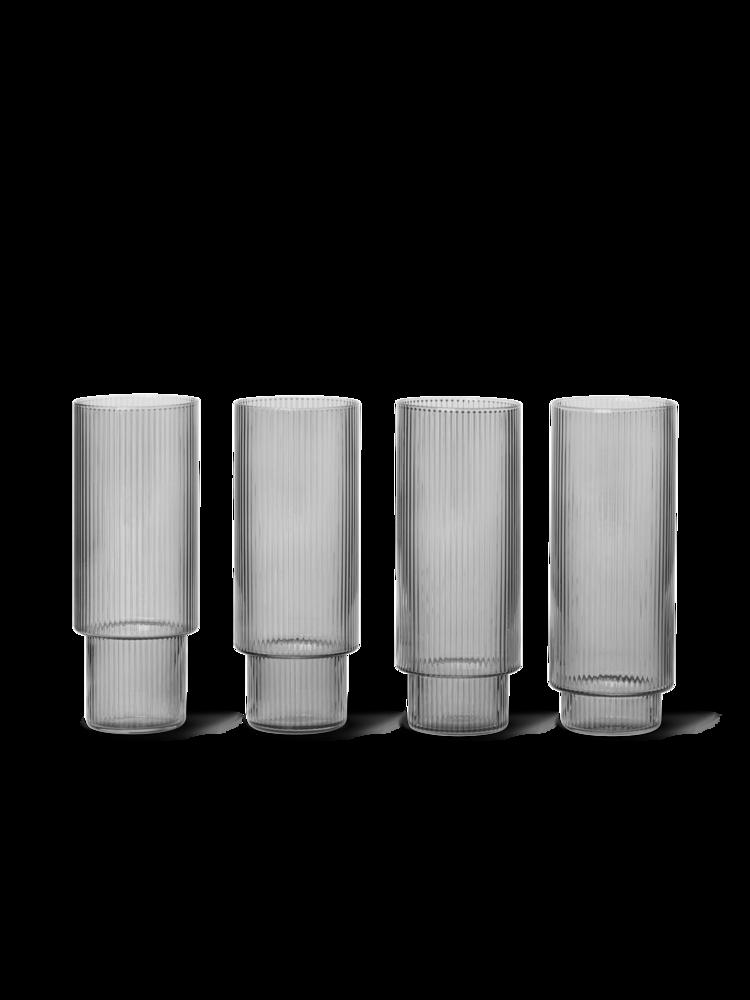 Ferm Living - Ripple Long Drink Glass Set of 4 - Smoked Grey (100128112)