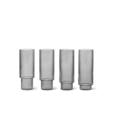 Ferm Living - Ripple Long Drink Glass Set of 4 - Smoked Grey (100128112)