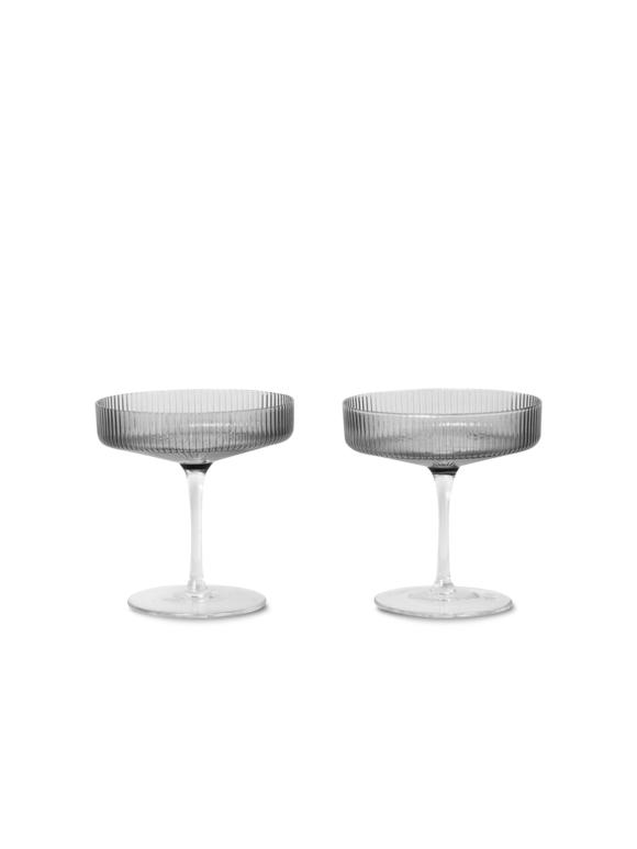 Ferm Living - Ripple Champagne Glas Sæt á 2 - Røget Grå