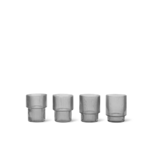 Ferm Living - Ripple Glass Set Of 4 - Smoked Grey (100127112)