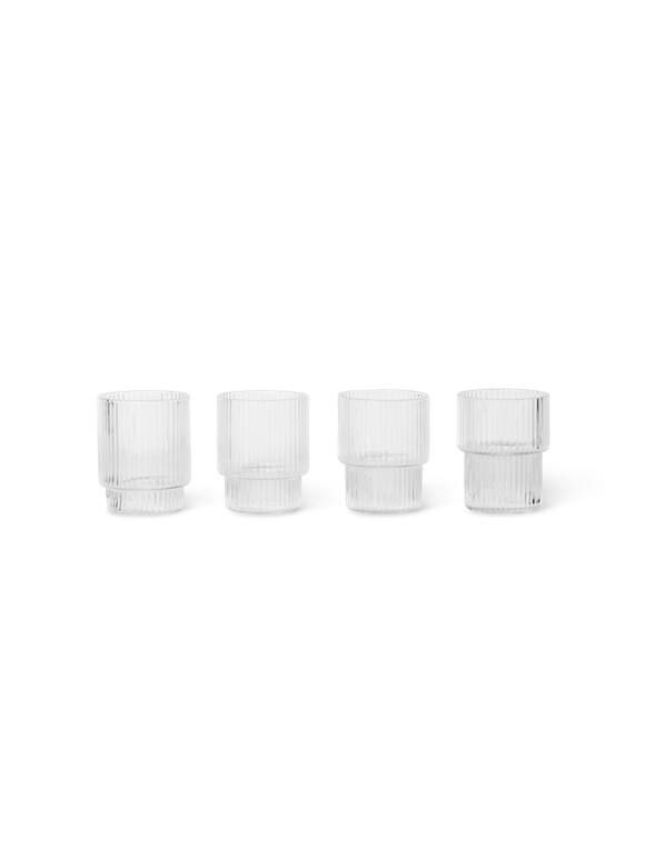 Ferm Living - Small Ripple Glas Sæt á 4 - Klar