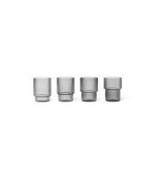 Ferm Living - Small Ripple Glas Sæt á 4 - Røget Grå