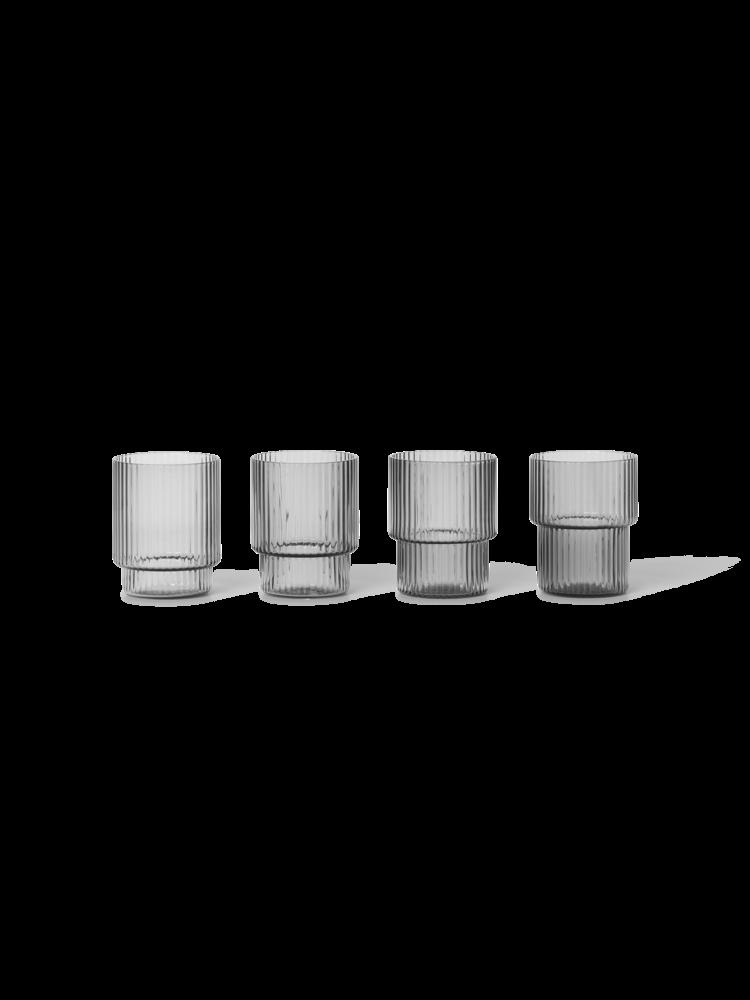 Ferm Living - Small Ripple Glass Set - Smoked Grey (100478112)
