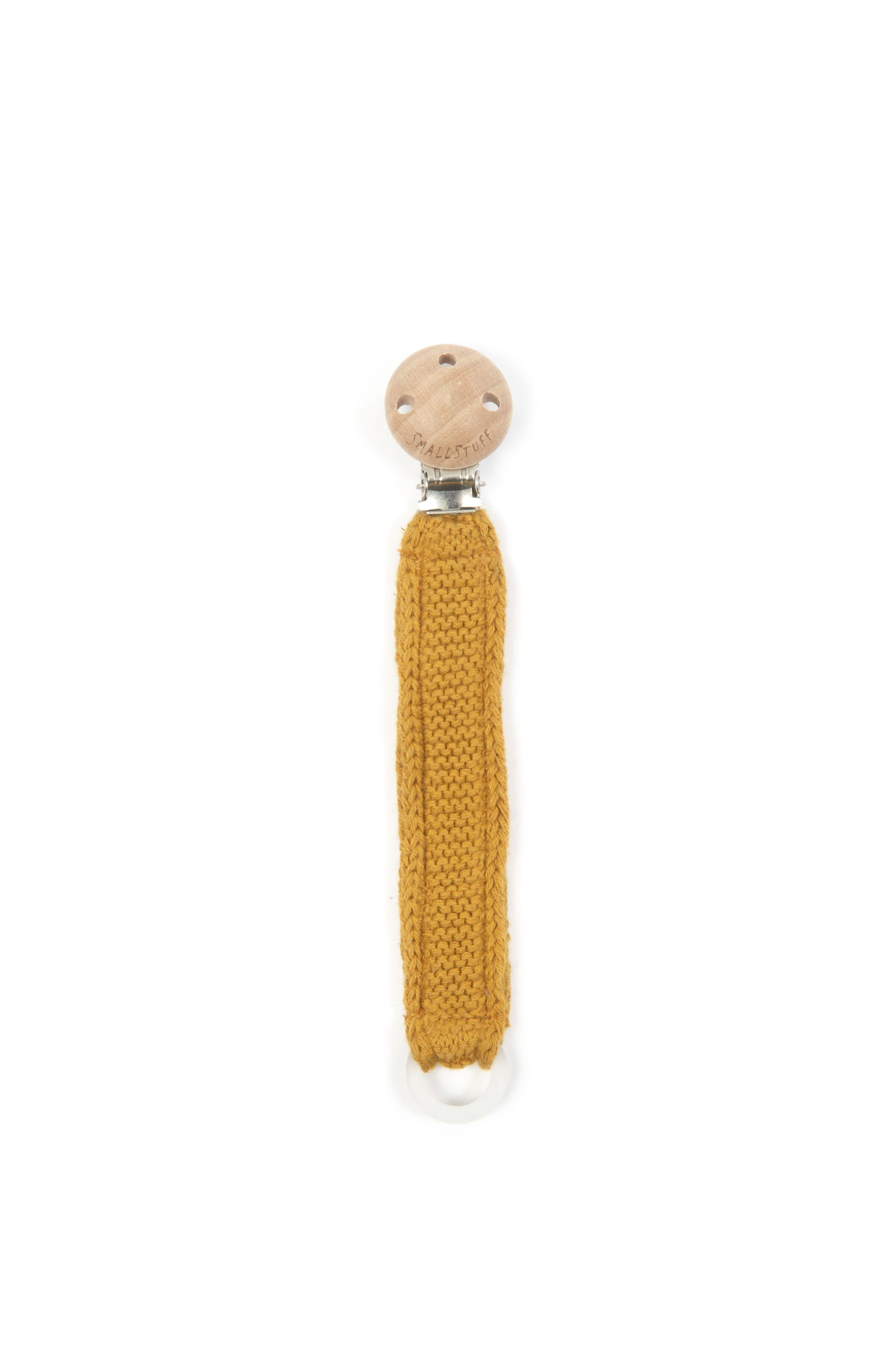 Smallstuff - Knitted Dummy Chain w. Wooden Clips - Hazel