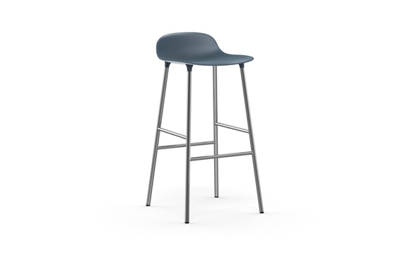Normann Copenhagen - Form Bar Stool 75 cm - Blue/Chrom Legs (603165)