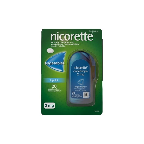 Nicorette - Cooldrops sugetabletter, 2 mg - 20 stk (543663)