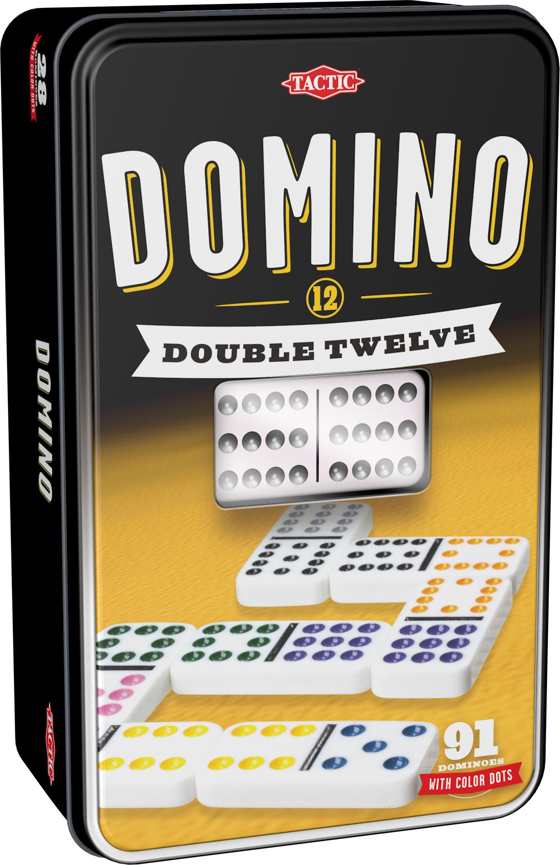 Tactic - Double 12 Dominoes in tinbox (53915)