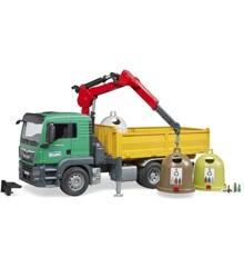 Bruder - MAN TGS Lastbil med lastekran og 3 genbrugscontainere (BR3753)