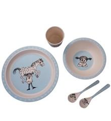 Barbo Toys - Pippi Bamboo Spisesæt (5 dele) - Blå