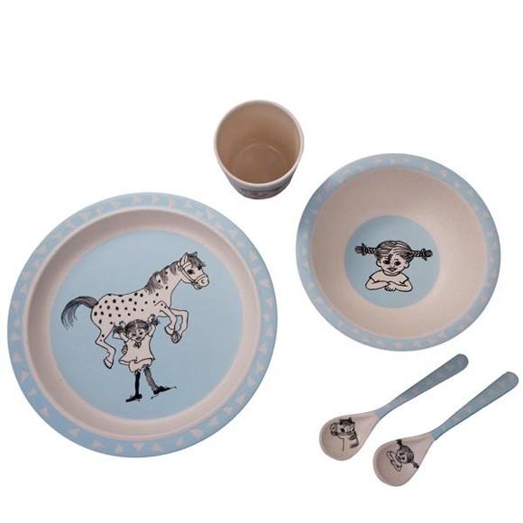 Barbo Toys - Pippi Bamboo Tableware 5 pcs set Blue