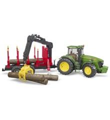 Bruder - John Deere 7930 og skovtrailer med lastekran og 4 stk tømmer  (BR3054)
