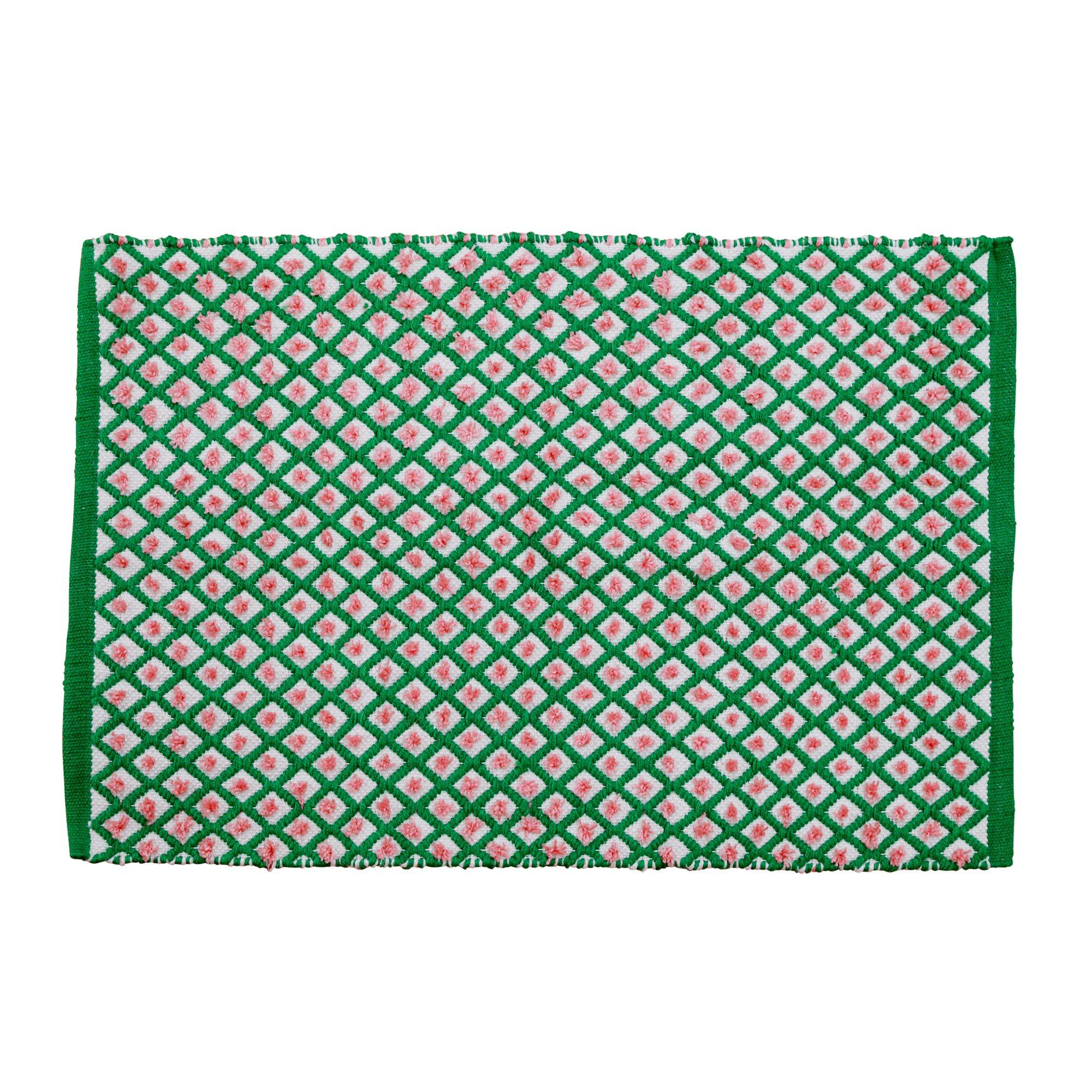 Rice - Handmade Recycled Plastic Floormat 60 x 90 cm - Green Harlequin