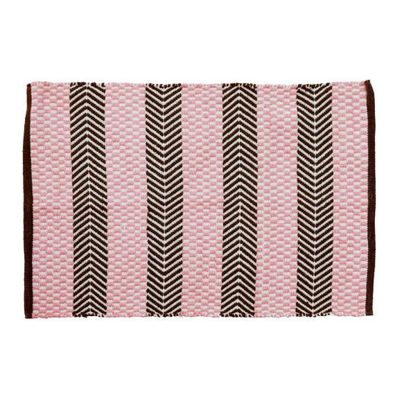 Rice - Håndlavet Genbrugsplast Gulvtæppe  60 x 90 cm. - Pink & Brun