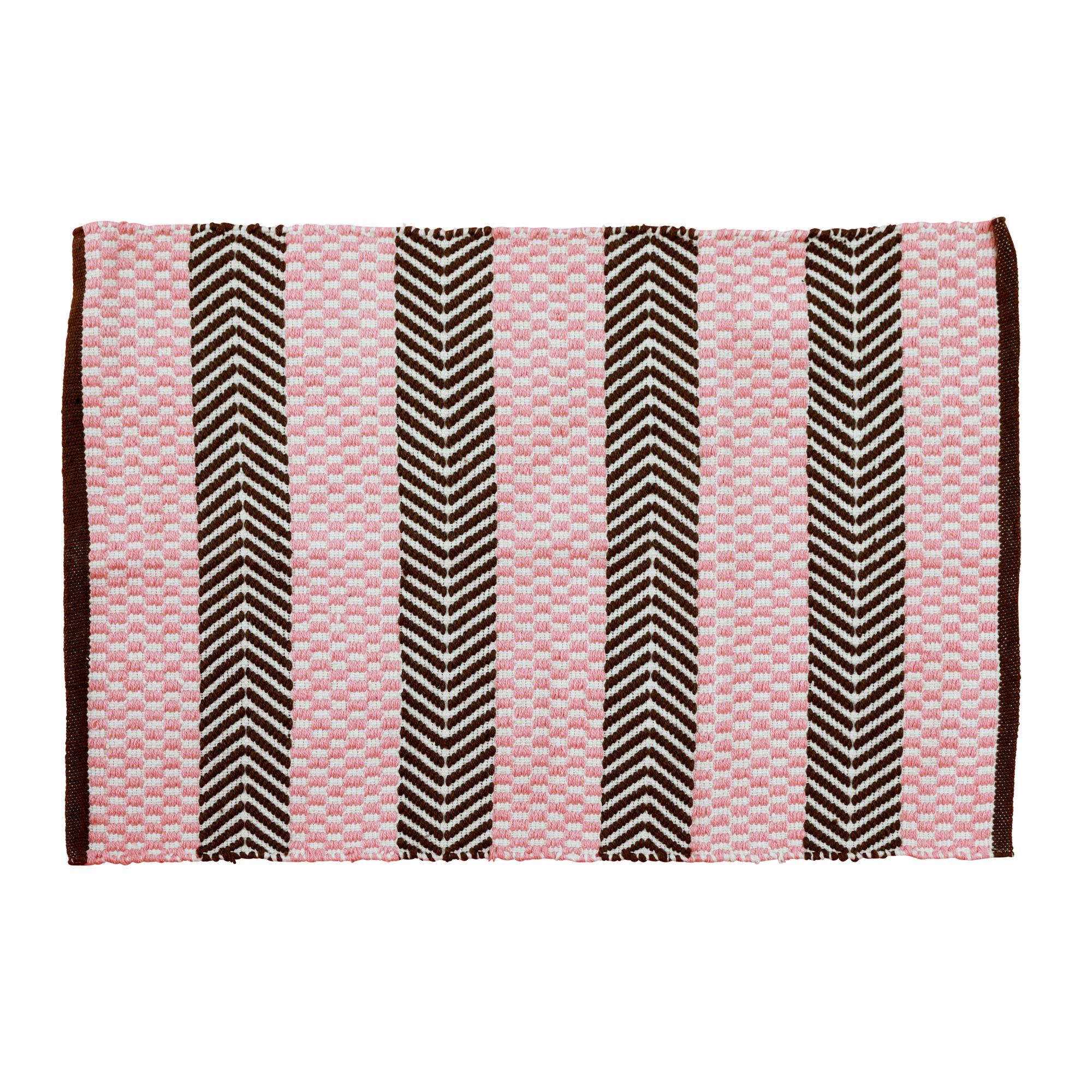 Rice - Handmade Recycled Plastic Floormat 60 x 90 cm - Pink & Brown
