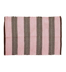 Rice - Handmade Recycled Plastic Floormat 60 x 90 cm - Pink & Brown