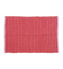 Rice - Håndlavet Genbrugsplast Gulvtæppe  60 x 90 cm. - Rød & Pink Zig Zag