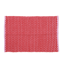 Rice - Handmade Recycled Plastic Floormat 60 x 90 cm - Red & Pink Zig Zag