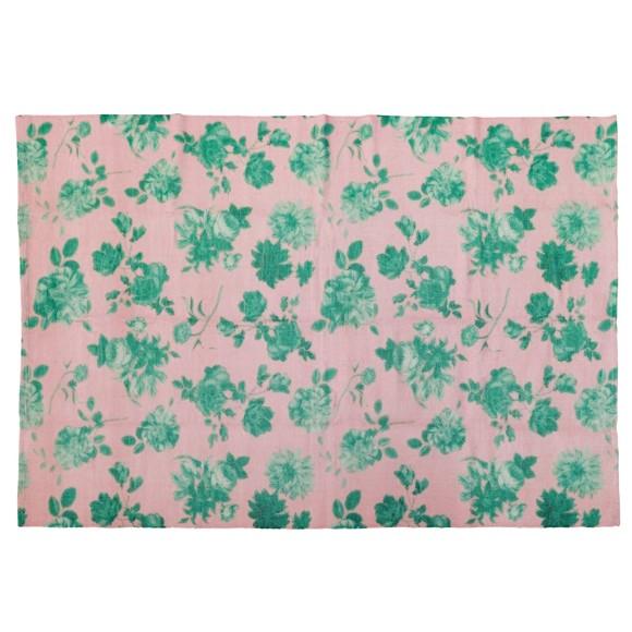 Rice - Håndlavet Genbrugsplast Gulvtæppe 150 x 220 cm m. Pink Grøn Rosen Print