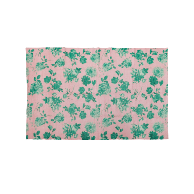 Rice - Handmade Recycled Plastic Runner w. Pink Green Rose Print - 90 x 150 cm