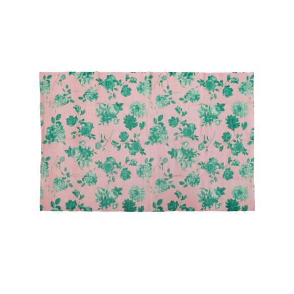 Rice - Handmade Recycled Plastic Runner w. Pink Green Rose Print - 90 x 150 cm