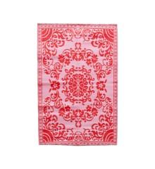 Rice - Plastik Dørmåtte m. Cirkel Blomster Design - Pink & Rød