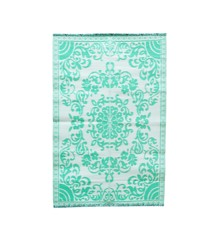 Rice - Plastic Floor Mat w. Circle Flower Design - Mint & Creme
