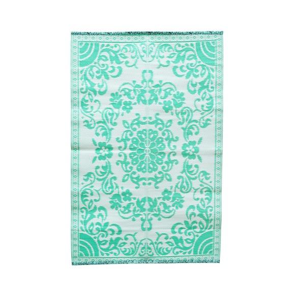 Rice - Plastik Dørmåtte m. Cirkel Blomster Design - Mint & Creme
