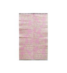 Rice - Plastic Floor Mat w. Flower Design - Bubblegum Pink & Creme