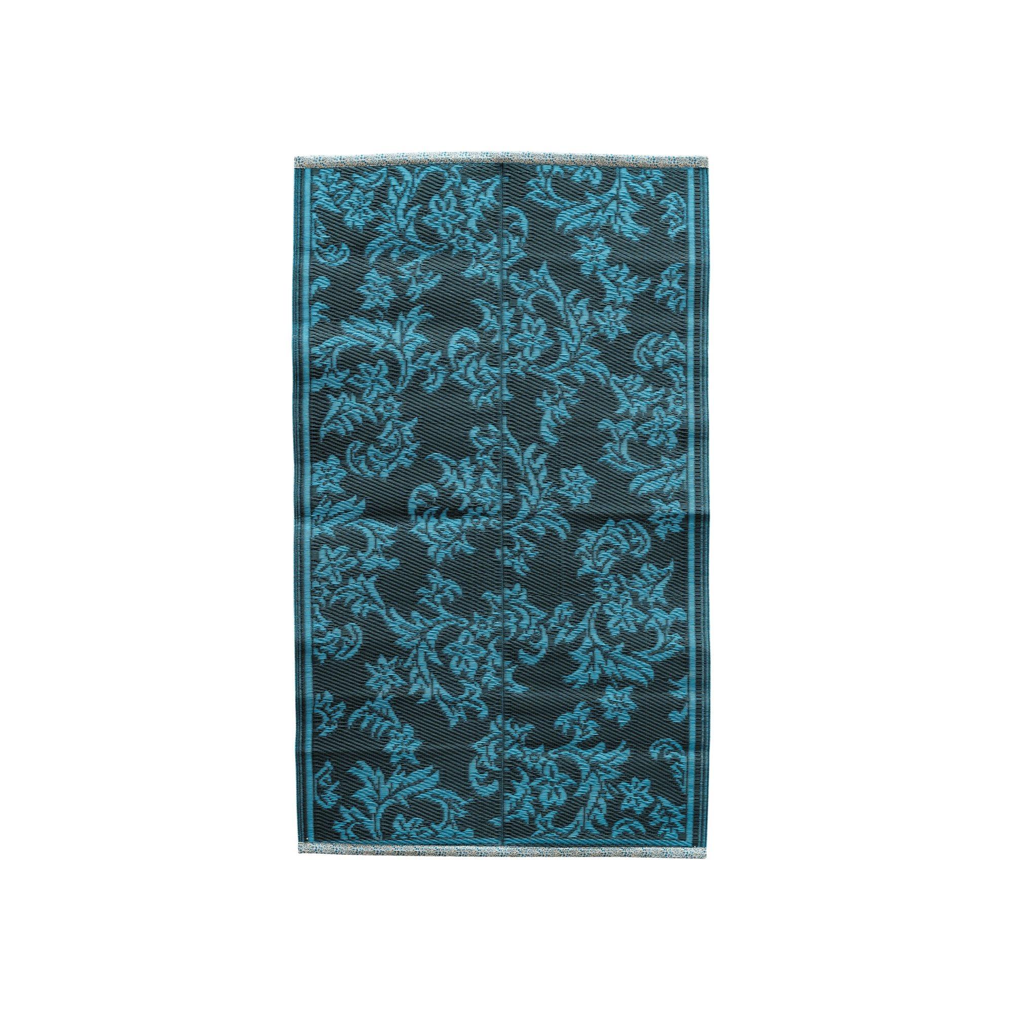 Rice - Plastic Floor Mat w. Flower Design -  Dark Grey & Dusty Blue