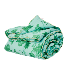 Rice - Bomulds Tæppe m. Grøn Rose Print