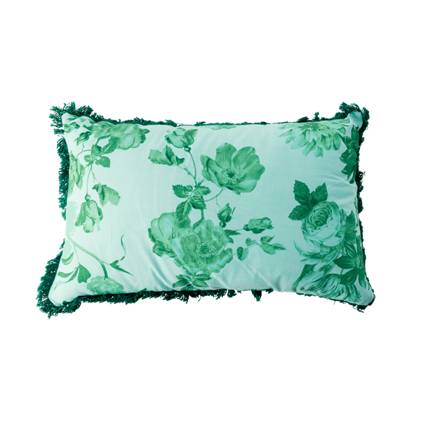 Rice - Cotton Cushion Rectangular 50 x 30 cm - Green Rose Print