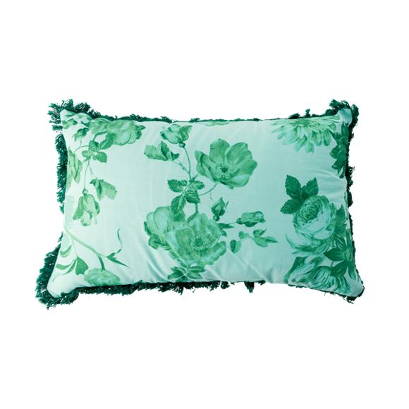 Rice - Cotton Cushion Rectangular 50 x 30 cm - Green Rose Print